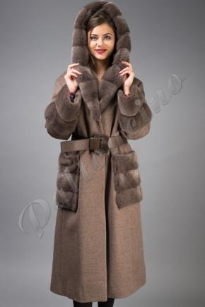 e632e84db4f Пальто с капюшоном и норкой Fontani
