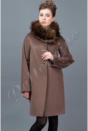 544ebaeeef9 Пальто классическое со стойкой Marenero цвета табака