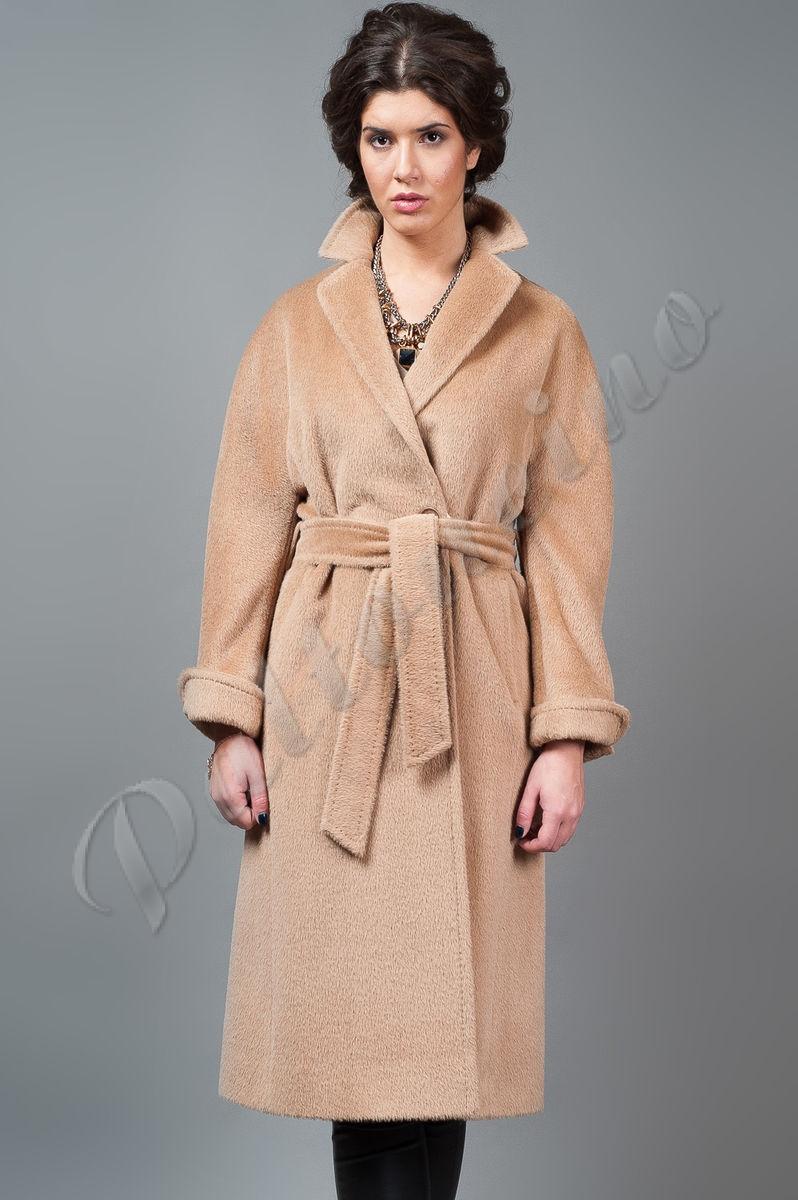 a647c015612 Пальто-халат из ламы классическое бежевое