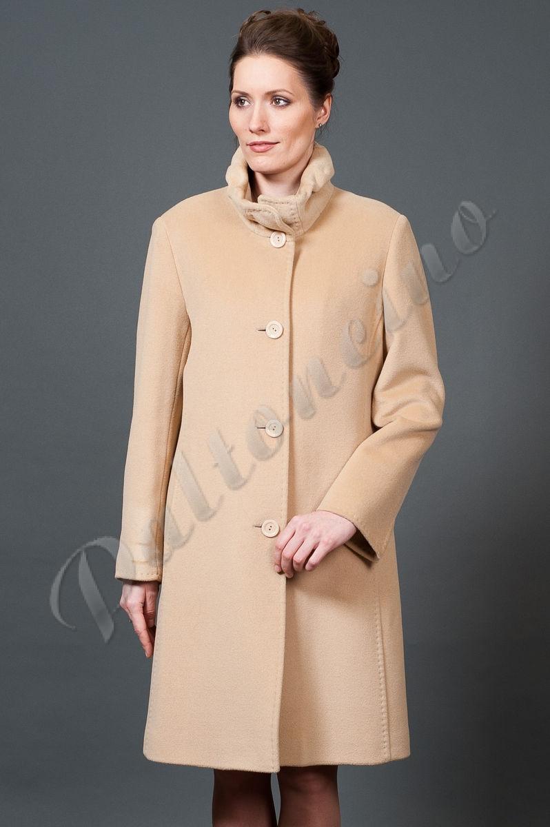dd1df4f7df9 Пальто из ангоры со стойкой бежевое