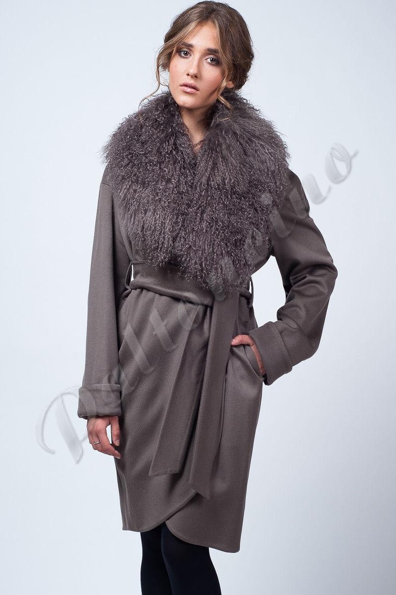 2e326acffc8 Пальто-халат с ламой цвет грибной